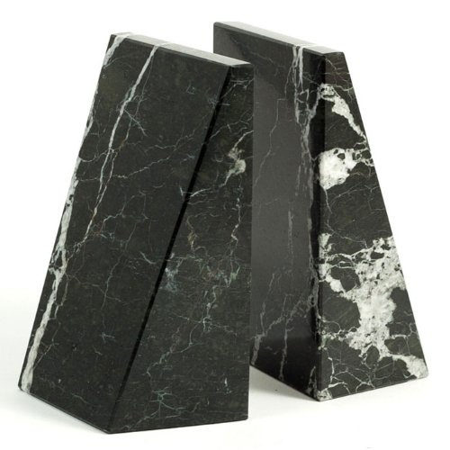 Khan Imports Large Black and White Marble Bookends, Heavy Stone Office Bookends